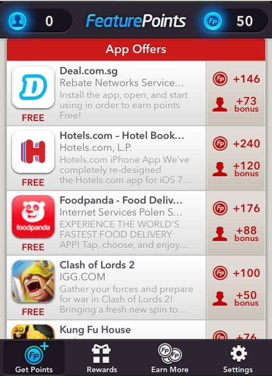 Featurepoints main menu