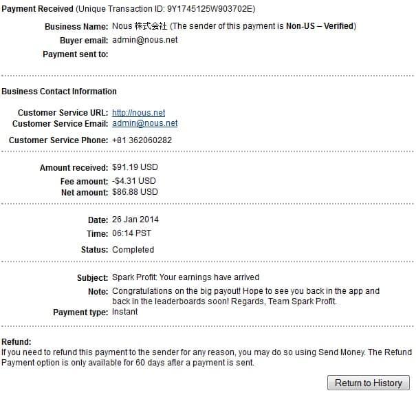 Sparkprofit Payment Proof