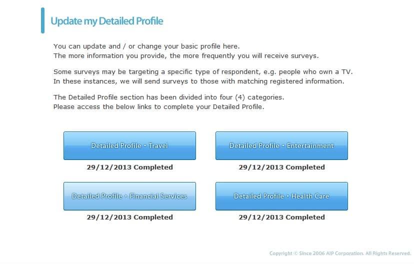AIP online surveys complete profile