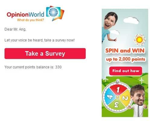 Take survey email