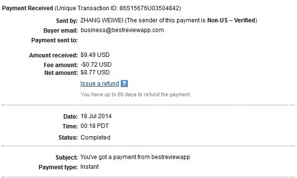 BestReviewApp payment proof