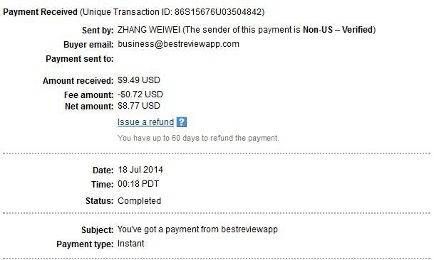 BestReviewApp payment proof