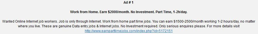 Earn Part time jobs Ads