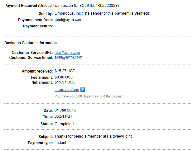 Paidviewpoint Payment proof