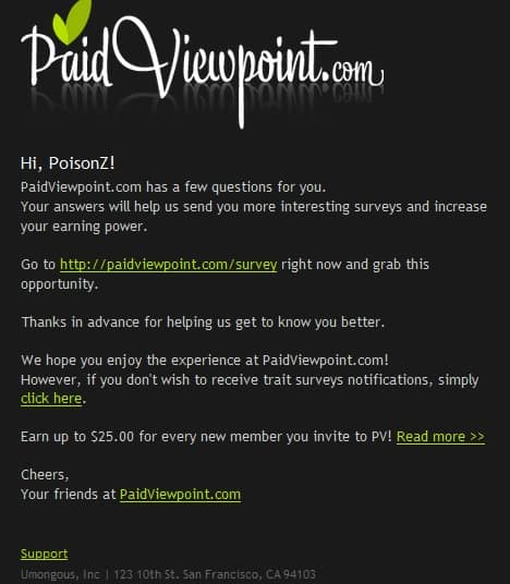 Paidviewpoint Take a survey