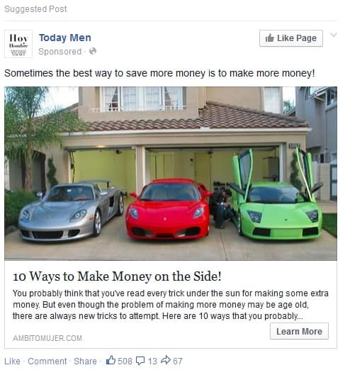 Facebook Millionaire facebook advertisement