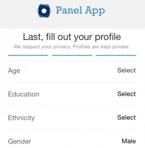 Filling out profile