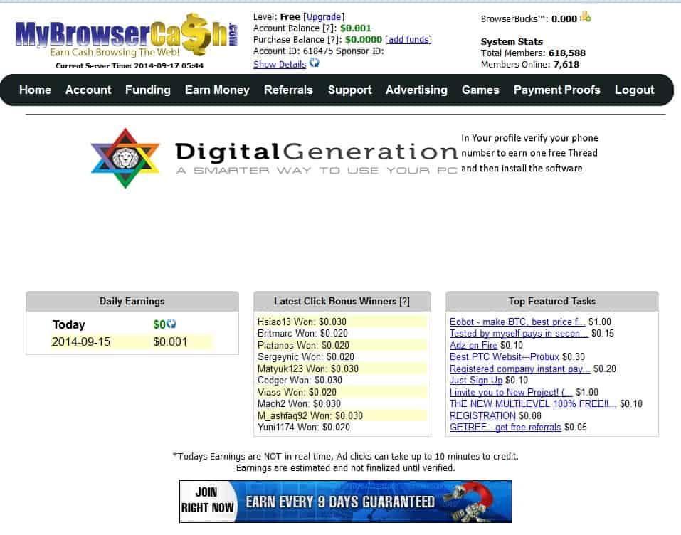 MyBrowserCash Main page