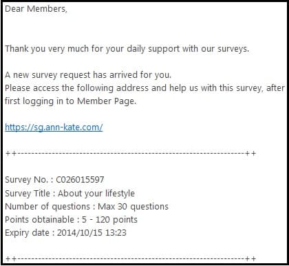 Ann and Kate email Survey