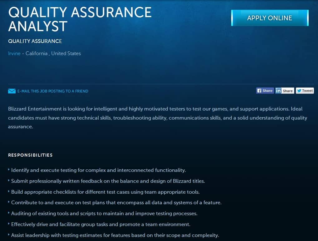 Blizzard QA job 1