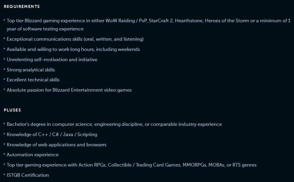 Blizzard QA job 2