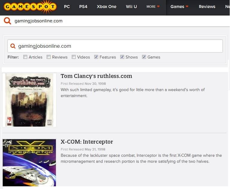Gamespot search