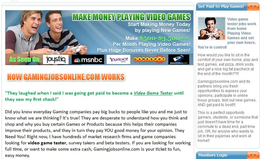Gaming Jobs online Main Page