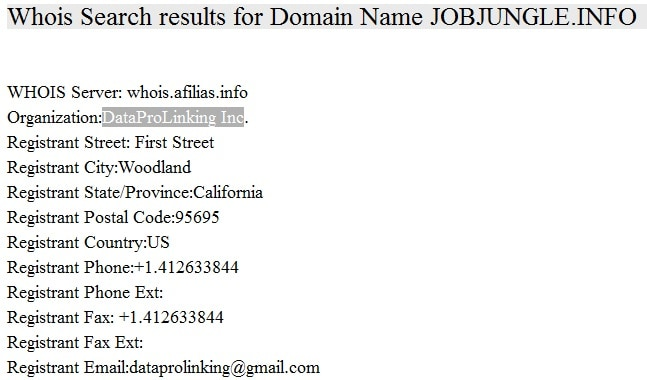 Jobjungle WHOIS search