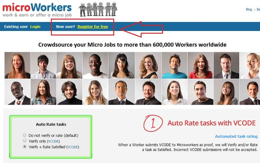 Microworkers Main page