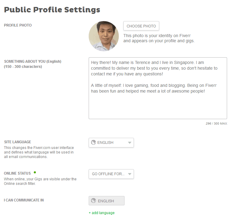 Fiverr Public Profile Setttings
