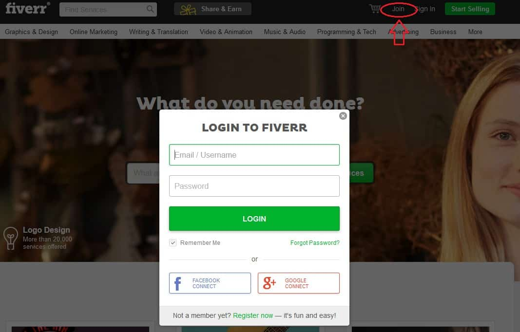 Fiverr sign up
