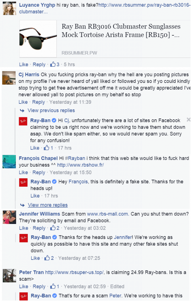 Rayban FB comments