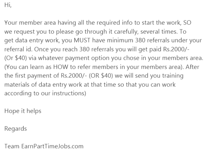 Earnparttimejobs Email reply
