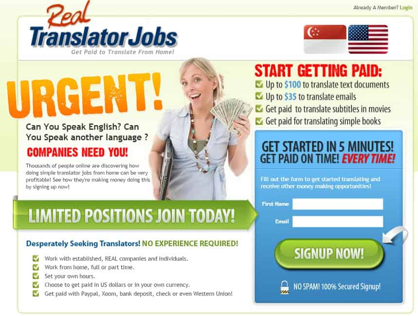 Real Translator Jobs main page page