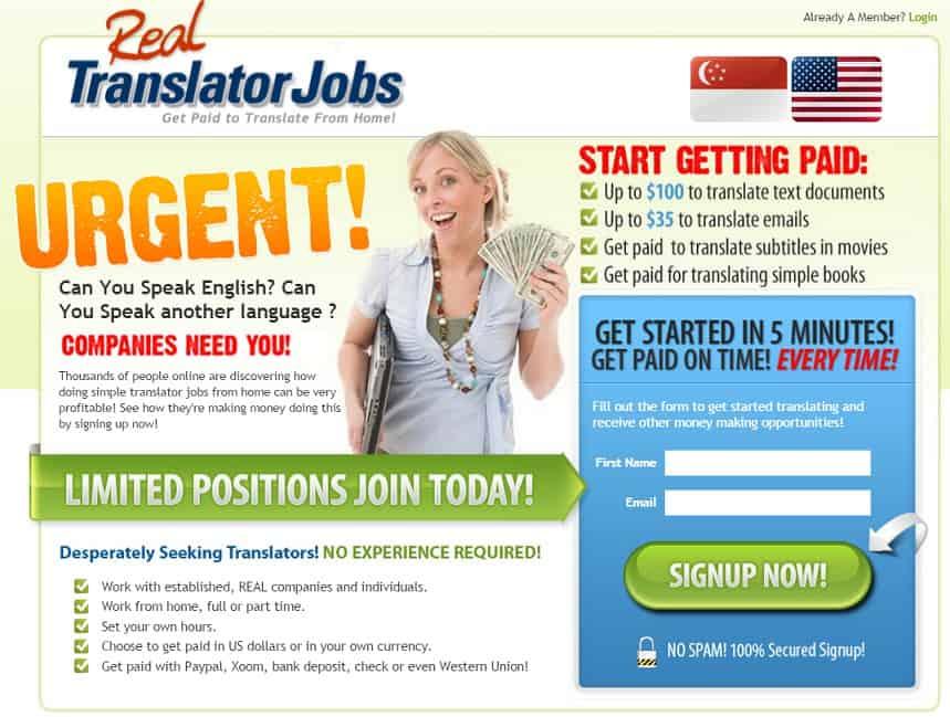Real Translator Jobs main page page