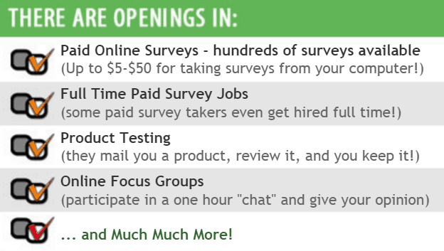 ... surveys with opportunities in a full time paid survey job and online