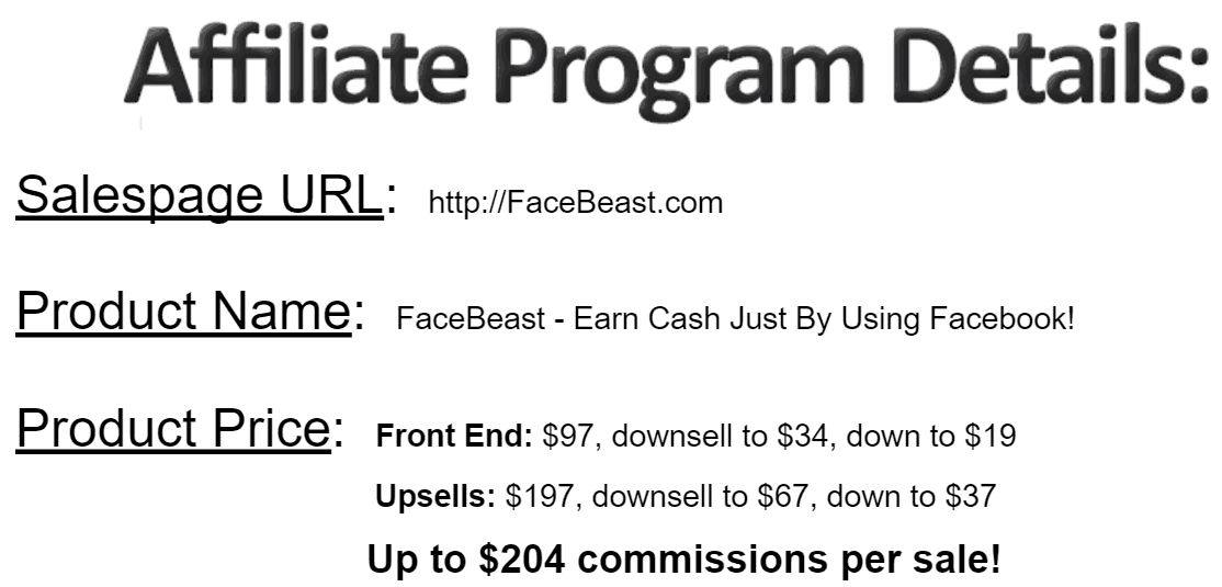 Facebeast Affiliate program