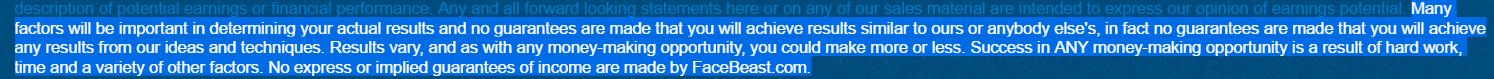 Facebeast earning disclaimer