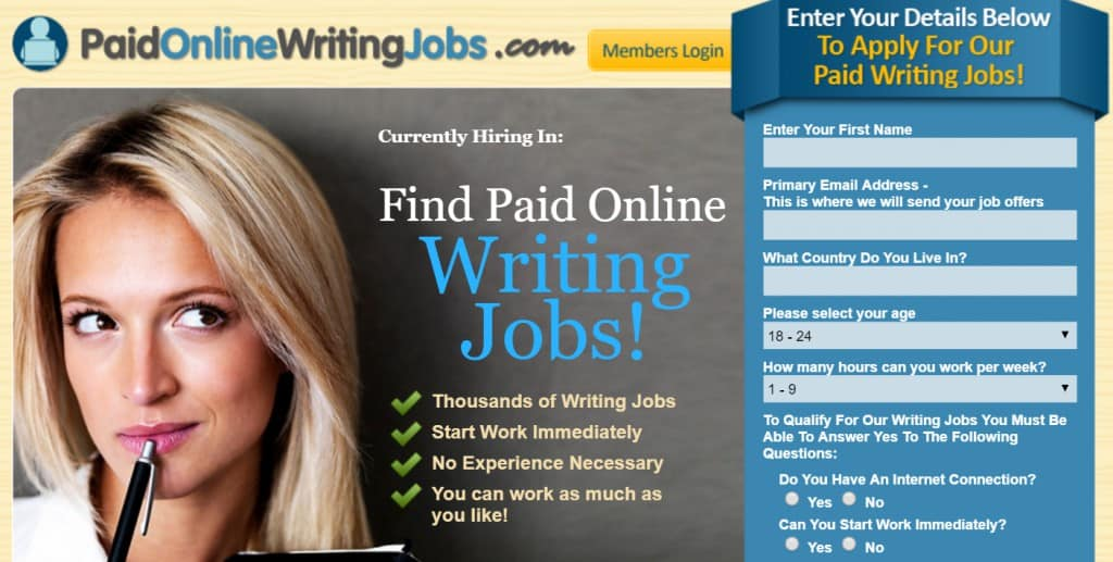 Paid Online Writings Jobs Front page