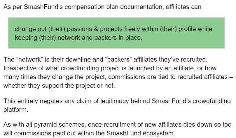 Smashfund BehindMLM post