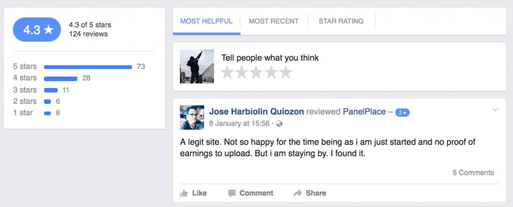 PanelPlace Facebook Reviews