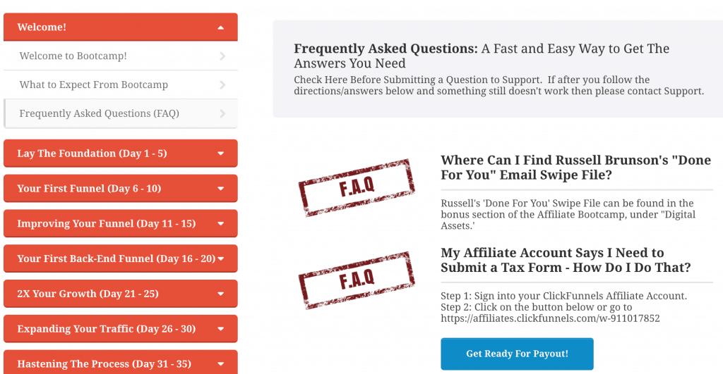 Affiliate Bootcamp FAQs