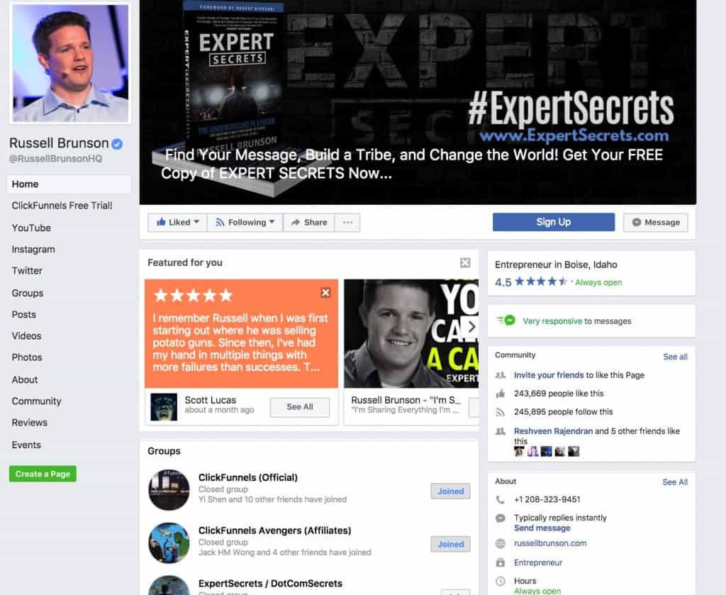 Affiliate Bootcamp Russell Facebook