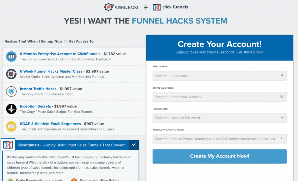 Funnel Hacks Sales Page
