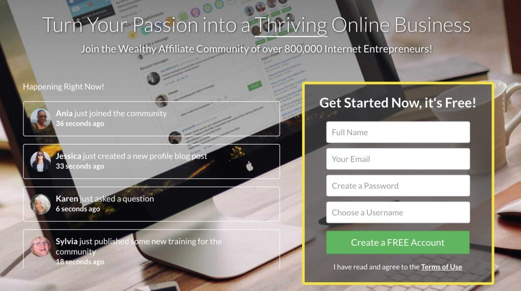Wealthy Affiliate Front Page