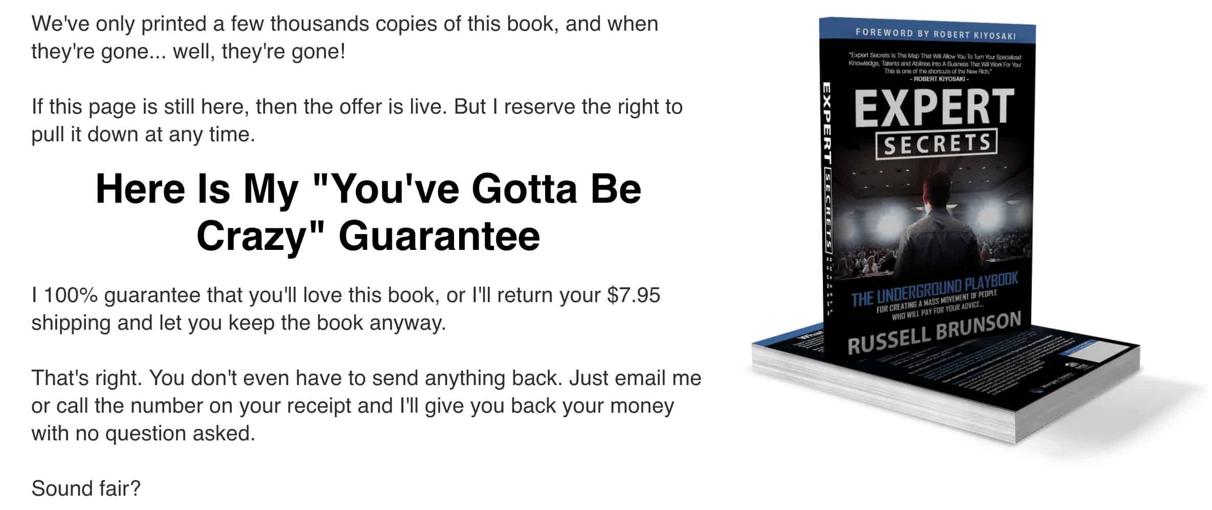 Expert Secrets Money Back Guarantee