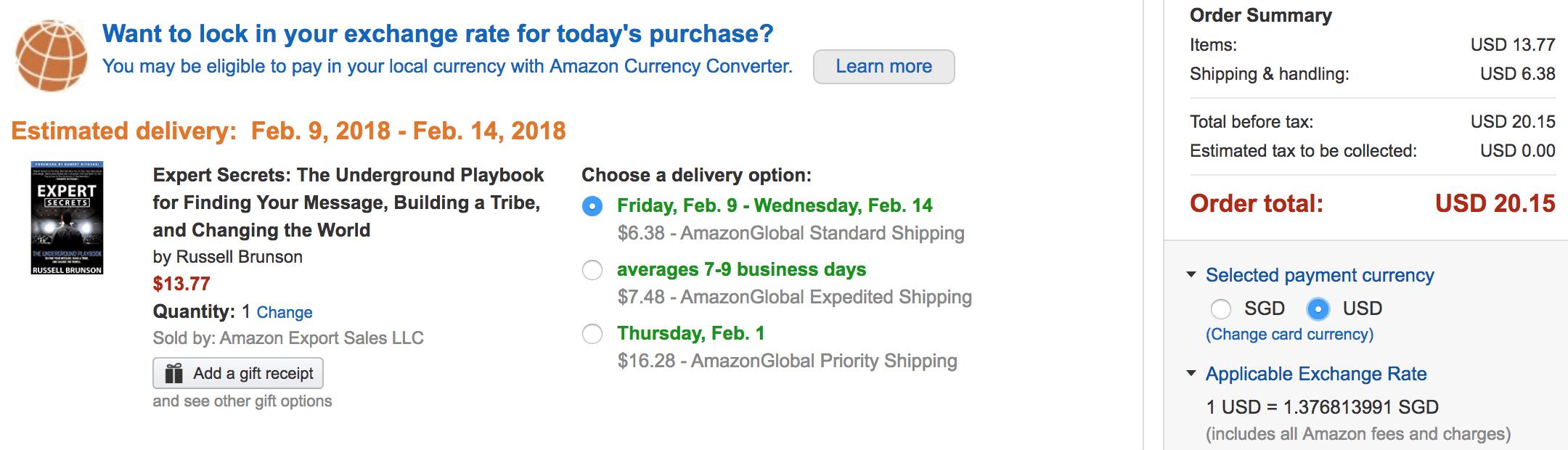Expert Secrets Ordering through Amazon