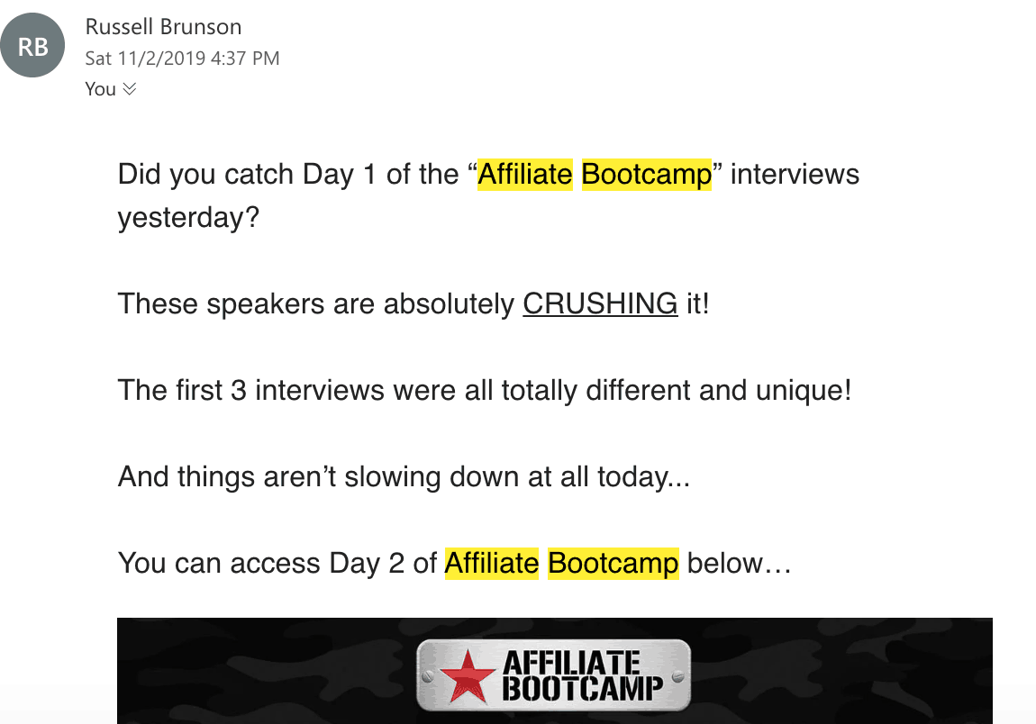 Clickfunnels Affiliate Bootcamp day 2 email
