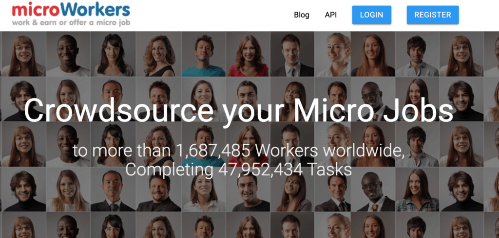 Microworkers home page